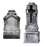 Two blank gravestone. Isolated on white royalty free stock photography
