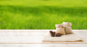 Two of blank hemp sack bag and pine cones on wood table top floo Royalty Free Stock Photography