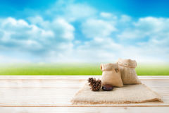 Two of blank hemp sack bag and pine cones on wood table top floo Stock Images