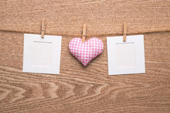 Two blank instant photos with hearts Stock Image