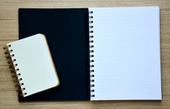 Two blank notebook on the wood table - Top view Stock Image