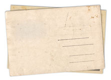 Two blank old vintage postcard isolated Royalty Free Stock Images