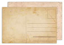 Two blank old vintage postcard isolated Royalty Free Stock Photos
