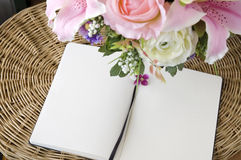 Two blank page with flowers Royalty Free Stock Photography