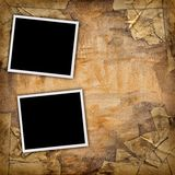 Two blank photos. On a grungy paper background Royalty Free Stock Images