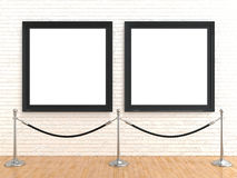 Two blank picture frame on brick wall, with stand rope barriers, 3D rendering. Illustration isolated on white background Stock Photo