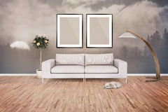 Two Blank Picture frame on the wall. Place your creation in this Stock Images