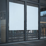 Two blank posters on the cafe window Royalty Free Stock Photo