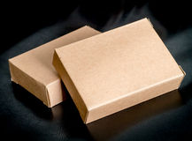 Two blank recycled paper boxes Stock Photo