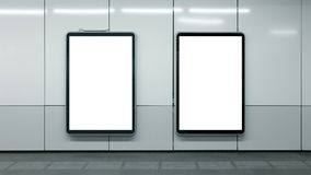 Two blank subway advertisements white isolated copyspace stock photos