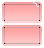 Two blank tickets. Two blank ticket, one punched, isolated on white background with copy space Stock Images