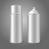 Two blank vector aerosol spray metal 3D bottle. Cans - opened and with cap Stock Photo