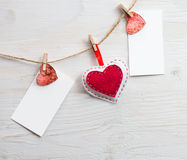 Two blank for writing text with hearts on the clothespin. royalty free stock images