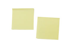 Two blank yellow Post-it notes Royalty Free Stock Photos