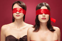 Two blind beauties Royalty Free Stock Photo