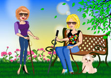 Two blind woman giving encouragement to each other. Two blind woman having conversation in the park. Full of spirit of living royalty free illustration
