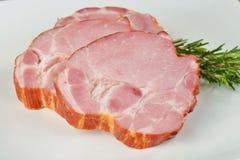 Two blocks of smoked pork neck Stock Image