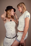 Two blond beauty friends Stock Photos
