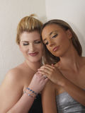Two Blond Caucasian Woman Bare Shoulder Portrait Royalty Free Stock Images
