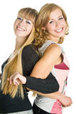 Two blond girlfriends Stock Photography