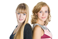 Two blond girlfriends Royalty Free Stock Photography
