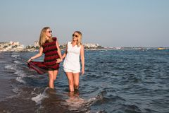 Two blond girls on the beach near sea Royalty Free Stock Photography