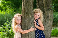 Two blond haired girls Royalty Free Stock Images