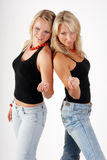 Two blond models. Studio shot of two blond models on white background Stock Photography