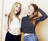 Two blond teenage girl fooling around messing hair. Girls friendship Stock Image
