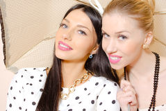 Two blonde and brunette young beautiful ladies Stock Images