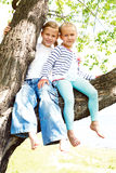 Two blonde little girl sitting on a tree Stock Images