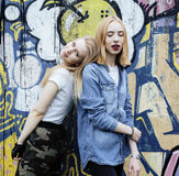 Two blonde real teenage girl hanging out at summer together best friends, lifestyle people concept Royalty Free Stock Image