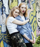 Two blonde real teenage girl hanging out at summer together best friends, lifestyle people concept. Close up stock photography