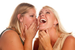 Two Blonde Woman Whispering Secrets Stock Photos