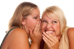 Two Blonde Woman Whispering Secrets Royalty Free Stock Photo