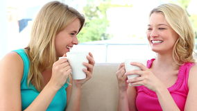 Two blonde women drinking coffee. While sitting on a sofa stock footage