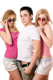 Two blonde women with handsome young man Royalty Free Stock Image