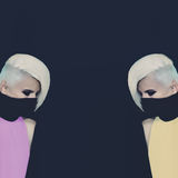 Two Blondes ninja style Royalty Free Stock Photo