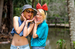 Two blondes in the park Stock Image
