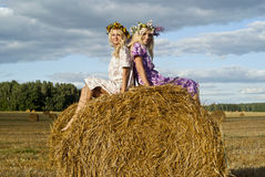 Two blondies on nature. Two blondies on the haystack Royalty Free Stock Images
