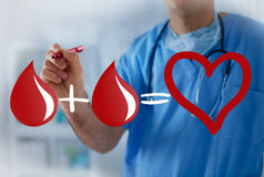 Two blood drops equals healthy heart, blood transfusion concept Stock Photography