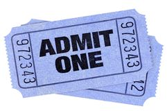 Two blue admit one movie tickets stubs isolated cut out white. Two blue admit one movie tickets stubs stock images
