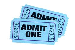 Two blue admit one cinema theater tickets isolated. Two blue admit one tickets isolated royalty free stock photography