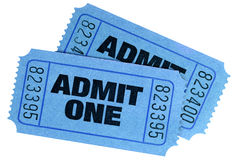 Two blue admit one tickets Stock Photography