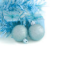 Two Blue Ball with Gift Box New Year and Christmas Stock Photo