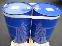 Two blue barrels Stock Image