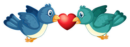 Two blue birds and heart Stock Photos