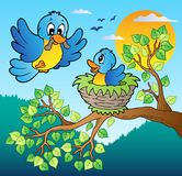 Two blue birds with tree branch. Vector illustration Stock Illustration
