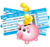 Two blue boarding passes and piggy bank icon. Royalty Free Stock Image