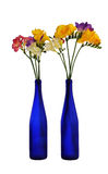 Two blue bottle with a bunch of colorful freesia Royalty Free Stock Images
